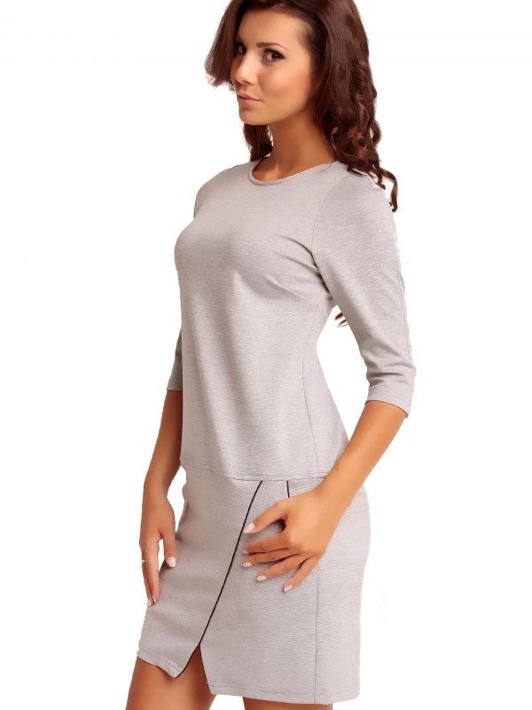 Dress ELENA TRIMMED in grey
