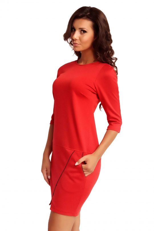 Sukienka ELENA TRIMMED w kolorze czerwonym