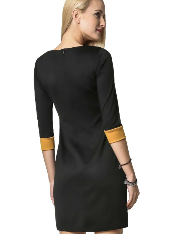 Jeanette dress in black and honey