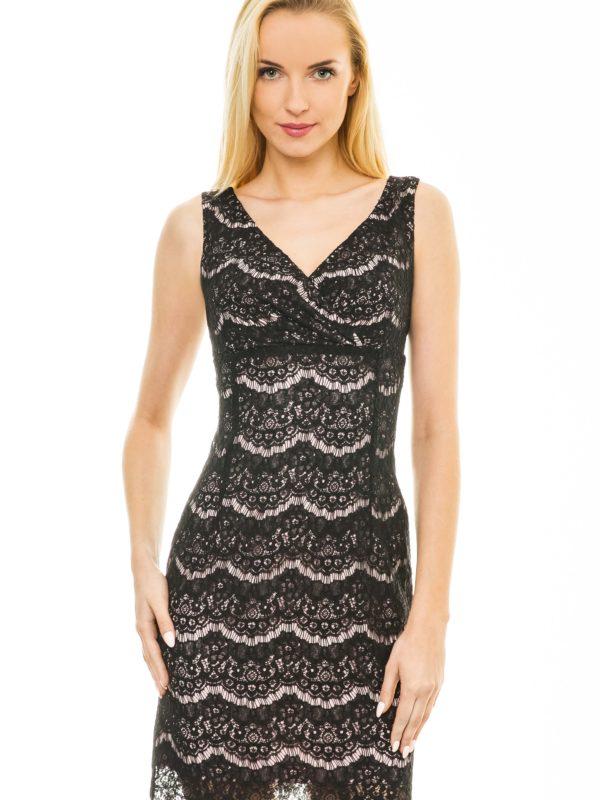 Sukienka Monique w kolorze pudrowym z czarną koronką