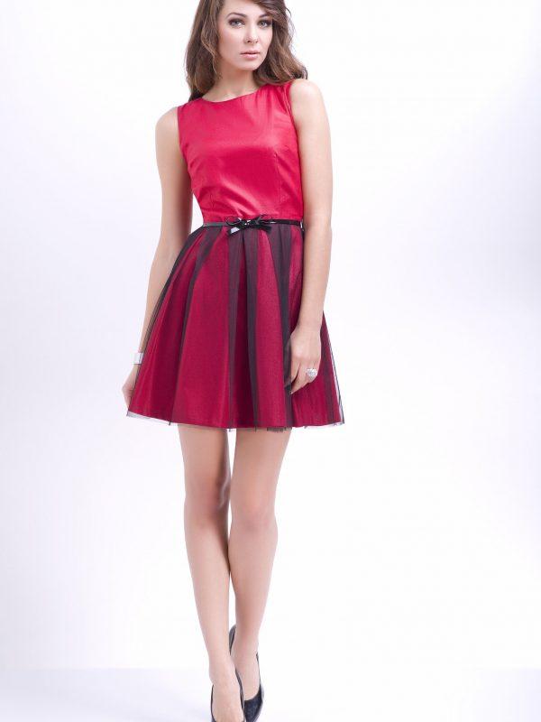 Sukienka Natalie w kolorze czerwonym z czarnym