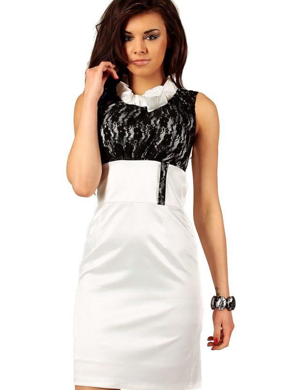 Sukienka Nicole z koronką ecru z czarnym