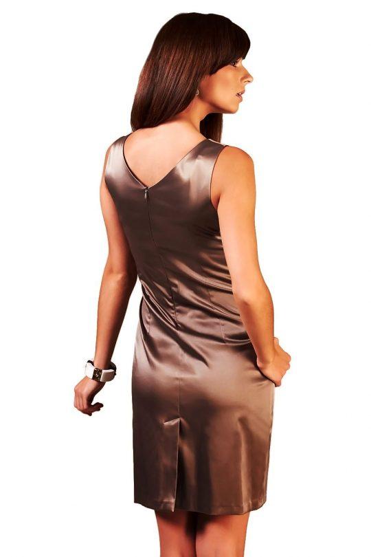 Sukienka Oriana brązowa z ecru