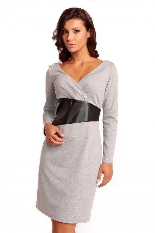 Sukienka ORIANA KNITWEAR w kolorze popielatym