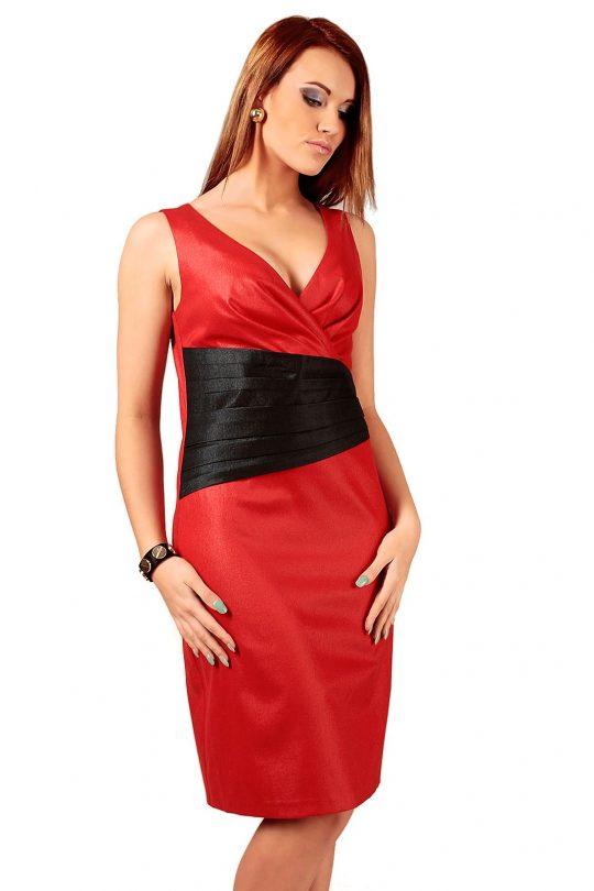 Sukienka Oriana czerwona z czarnym