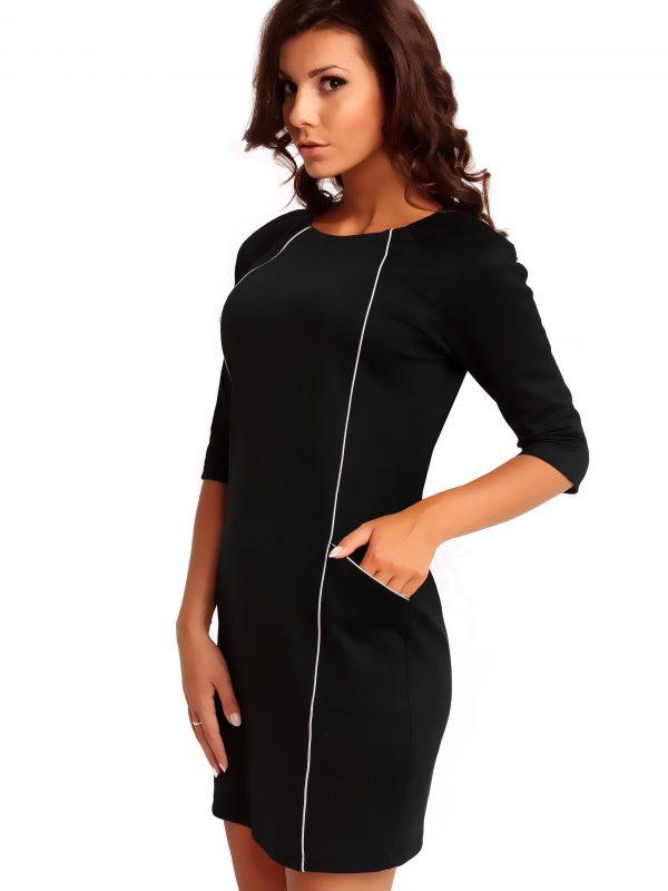 Sukienka SENDY TRIMMED w kolorze czarnym