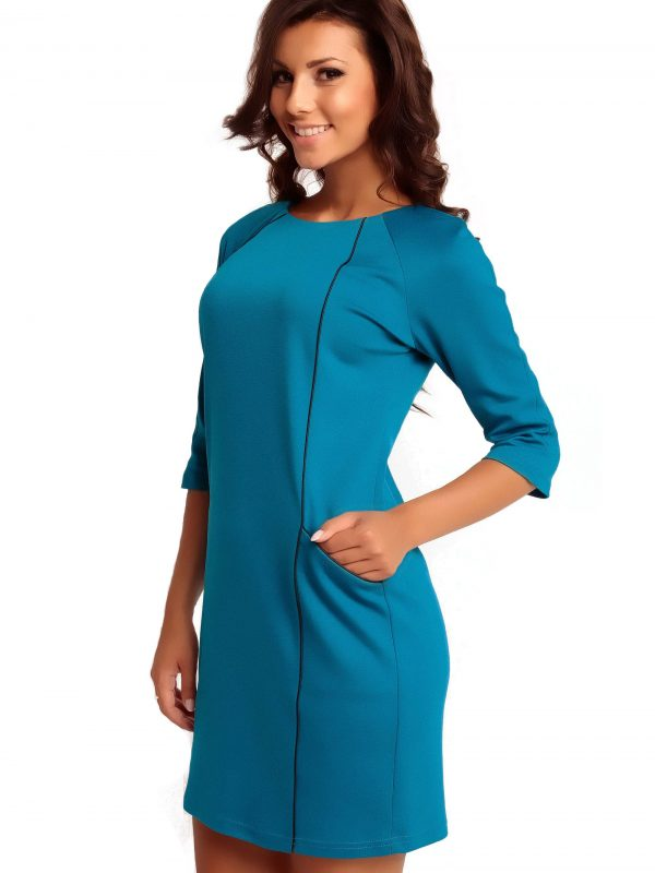 Kleid SENDY TRIMMED in Blau