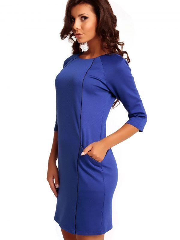 Sukienka SENDY TRIMMED w kolorze szafirowym