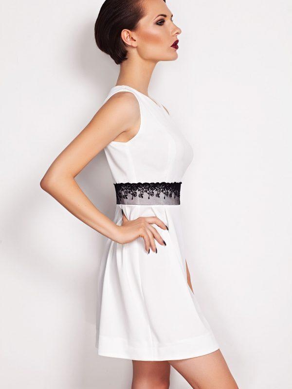 Sukienka SOLANGE KORONKA w kolorze beżowym