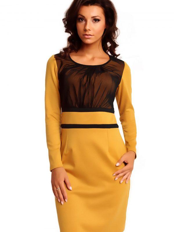 Sukienka VALERIE KNITWEAR w kolorze miodowym